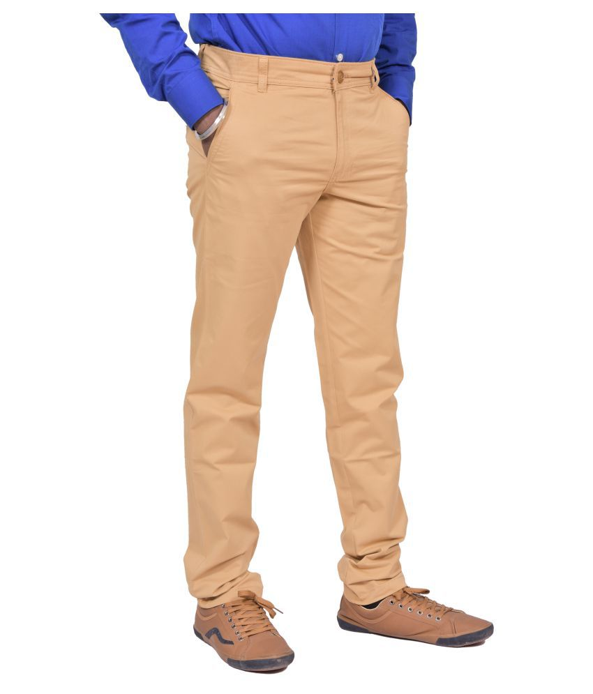 Just Trousers KHAKI Khaki Slim -Fit Flat Trousers
