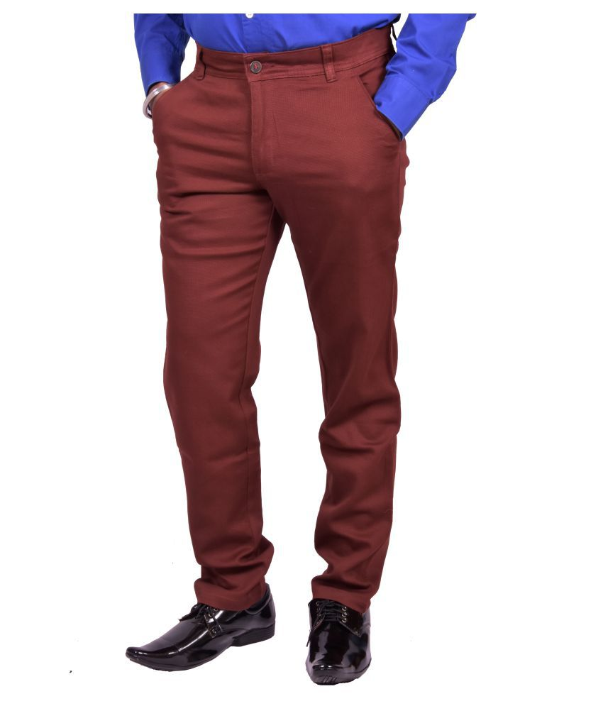 Just Trousers Maroom Gold Slim -Fit Flat Chinos