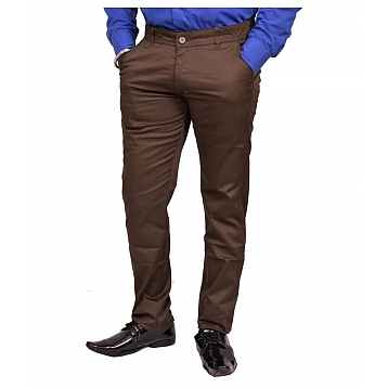 Just Trousers Dark Brown Slim -Fit Flat Trousers