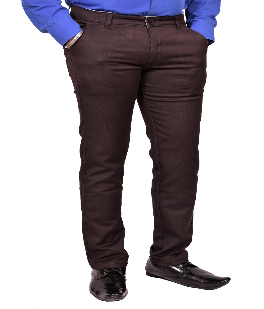 Just Trousers Brown Slim -Fit Flat Chinos