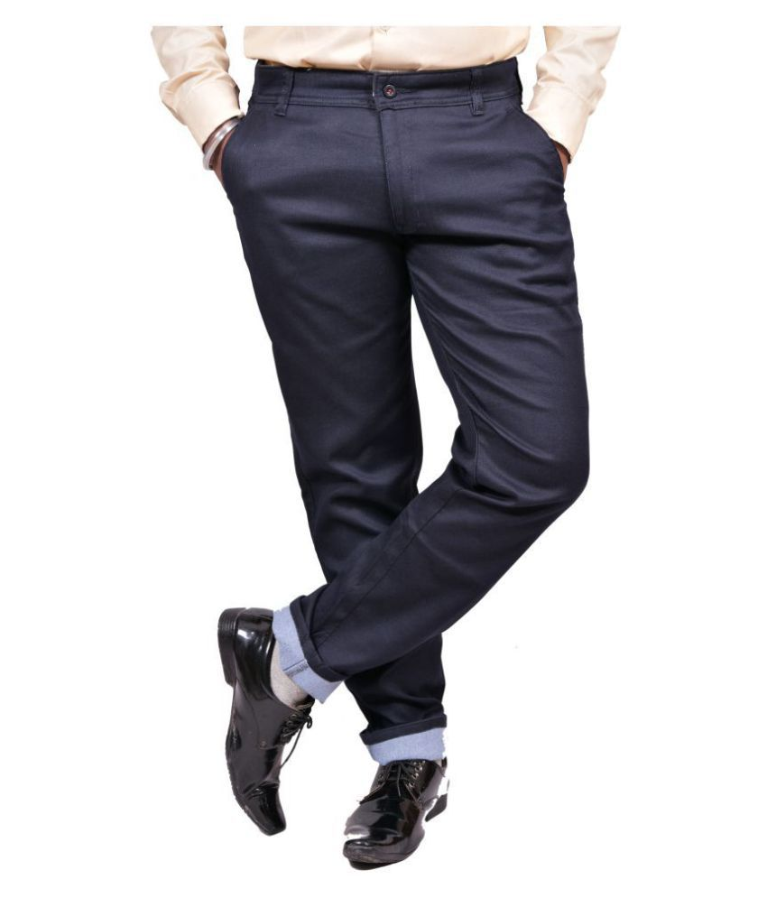 Just Trousers Blue Khaki Slim -Fit Flat Trousers