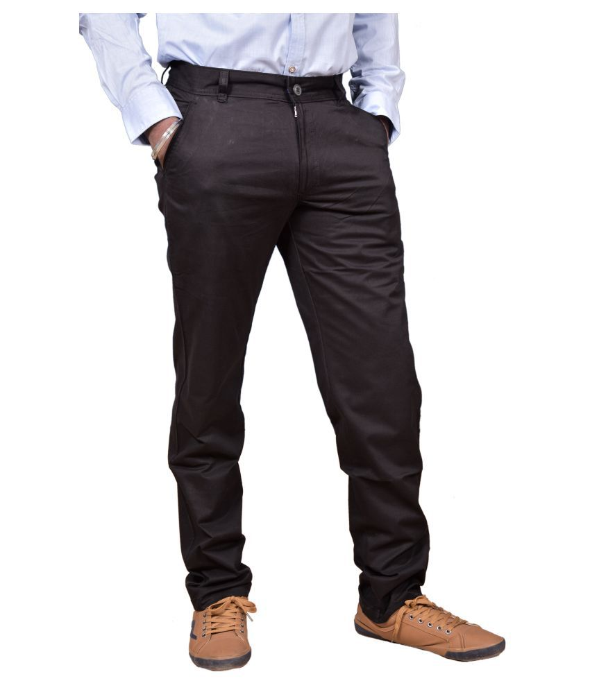 Just Trousers Black Blue Slim -Fit Flat Trousers