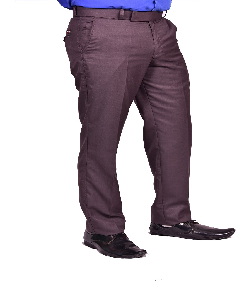 Just Trousers Brown Regular-Fit Flat Trousers