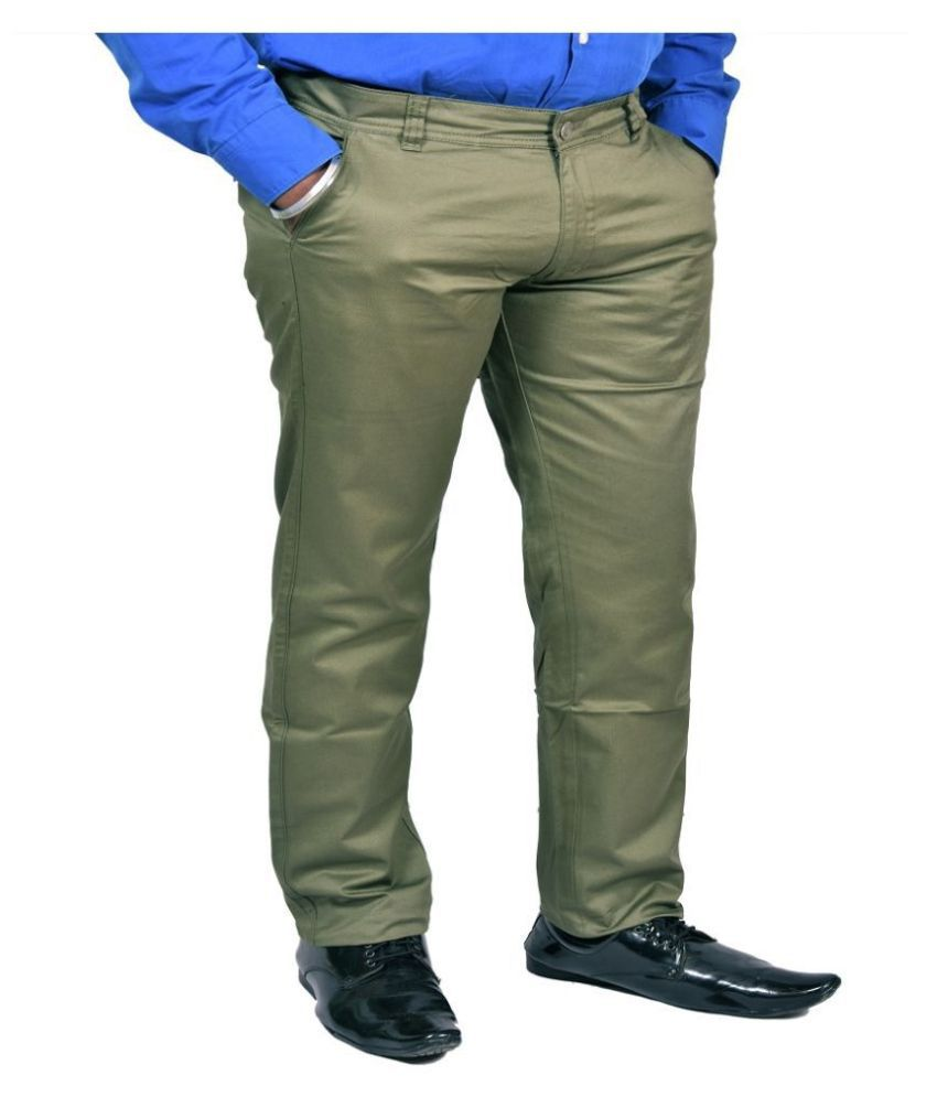Just Trousers Olive Green Olive Green Slim-Fit Flat Trousers