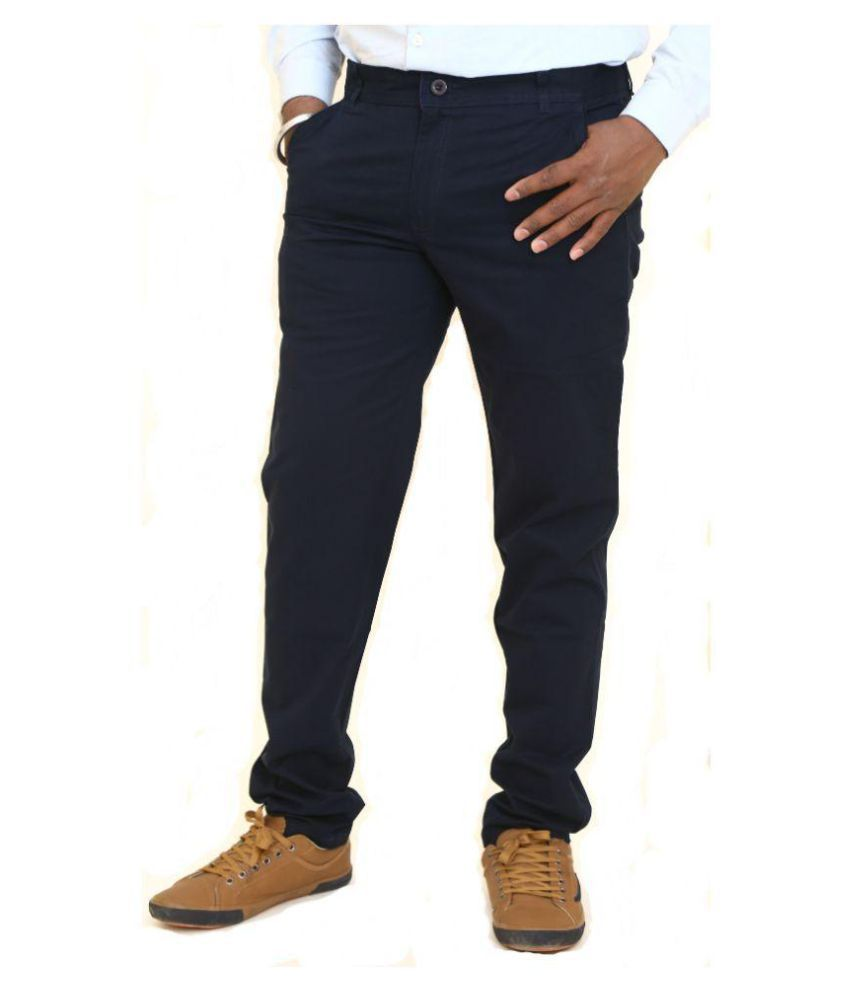 Just Trousers Blue Blue Slim -Fit Flat Trousers