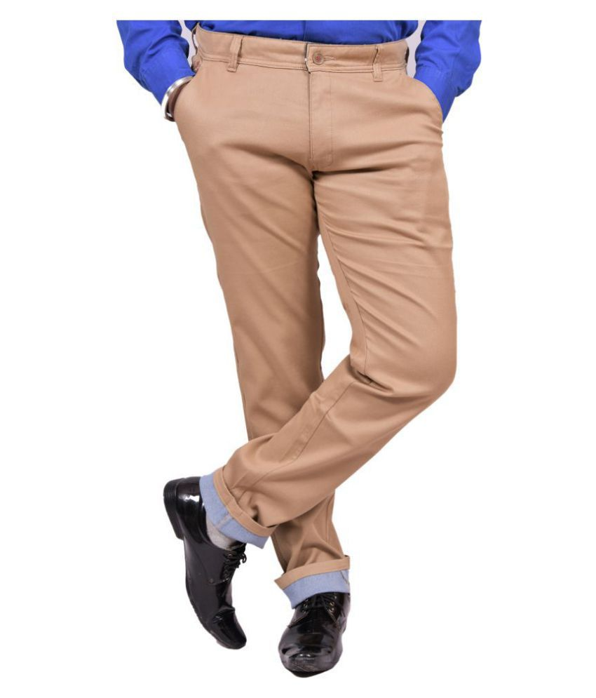Just Trousers Khaki Khaki Slim -Fit Flat Trousers