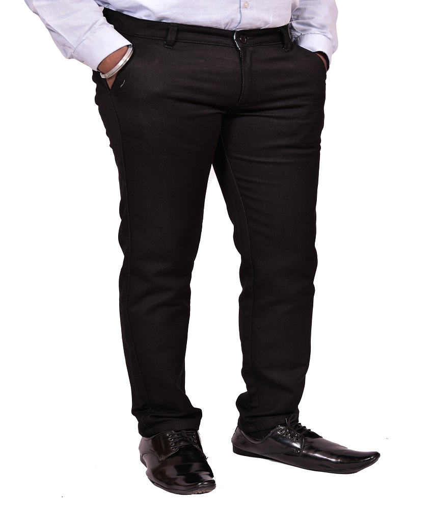 Just Trousers Black Slim -Fit Flat Chinos