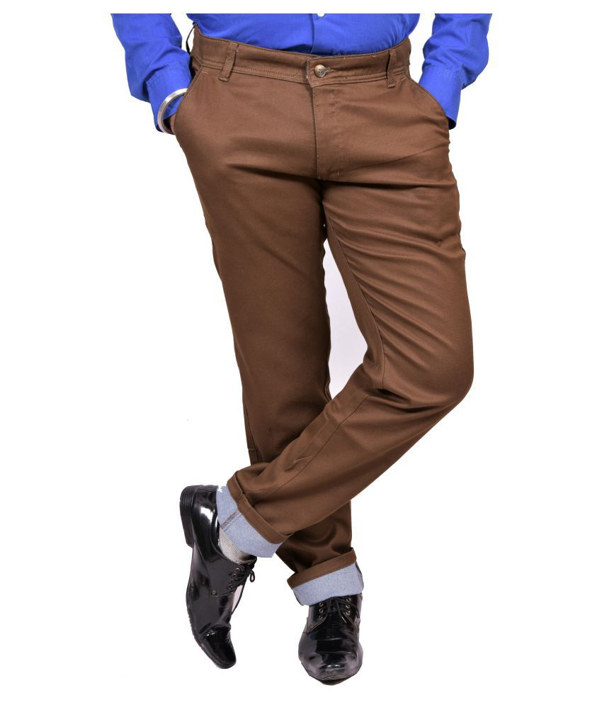 Just Trousers Brown Khaki Slim -Fit Flat Trousers