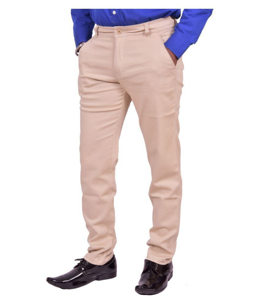 Just Trousers Cream Gold Slim -Fit Flat Chinos