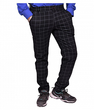 Just Trousers Black Cheks Slim -Fit Flat Chinos