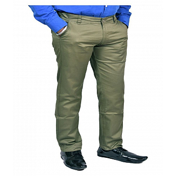 Just Trousers Olive Green Slim-Fit Flat Trousers